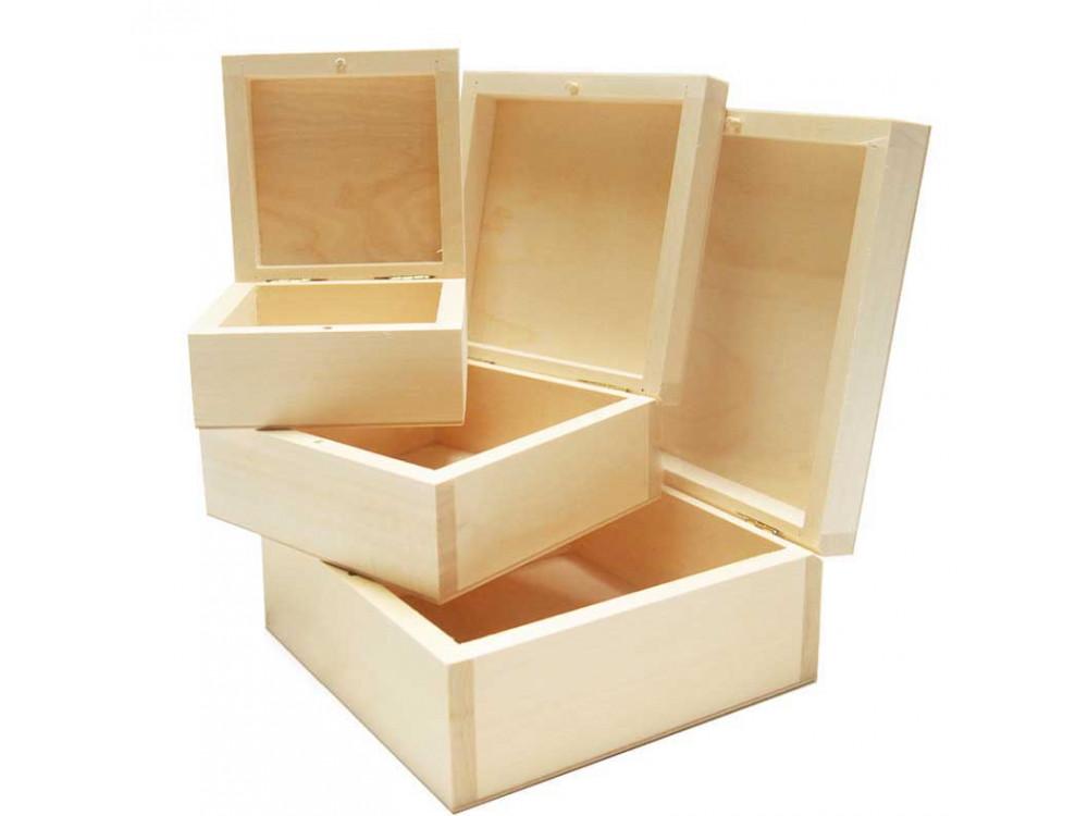 Pudełka, kasetki drewniane - kwadratowe, 3 szt.