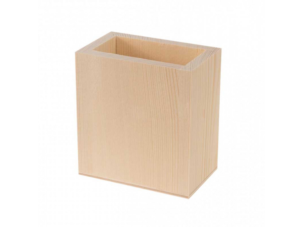 Kubek drewniany, pojemnik na długopisy - prostokątny, 10 x 5,5 x 11 cm