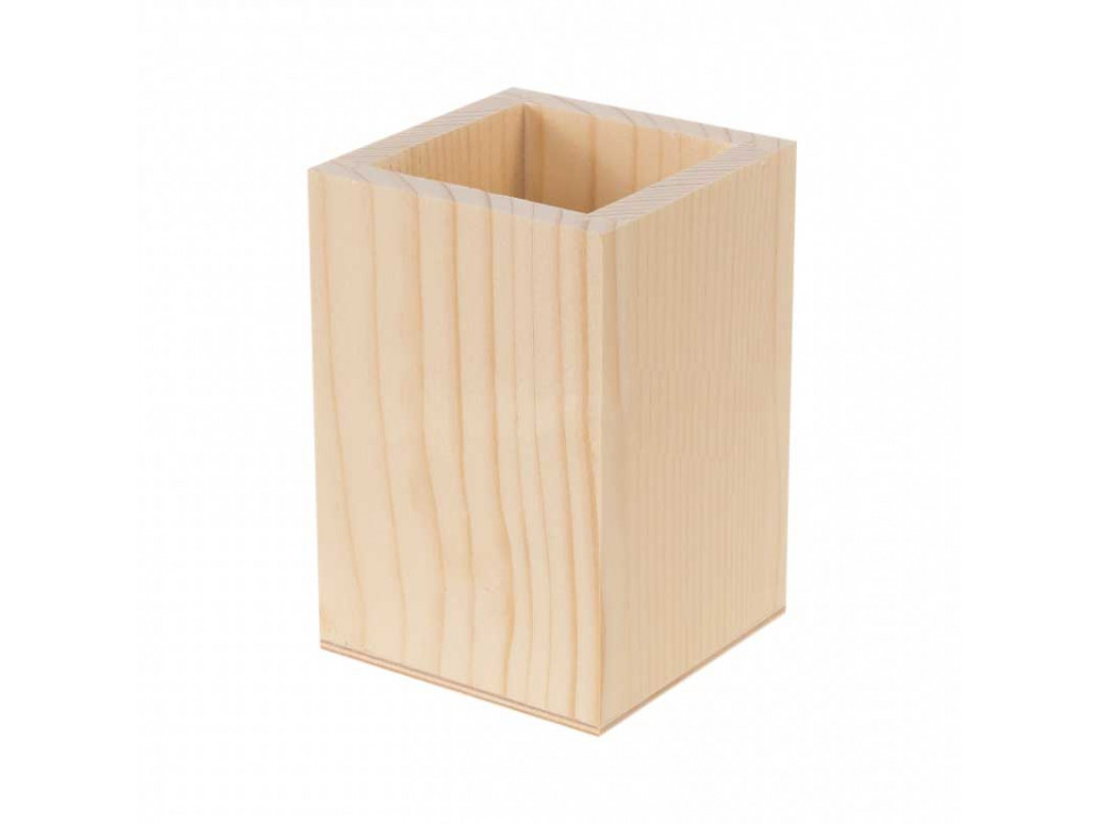 Kubek drewniany, pojemnik na długopisy - kwadratowy, 7,5 x 7,5 x 11 cm