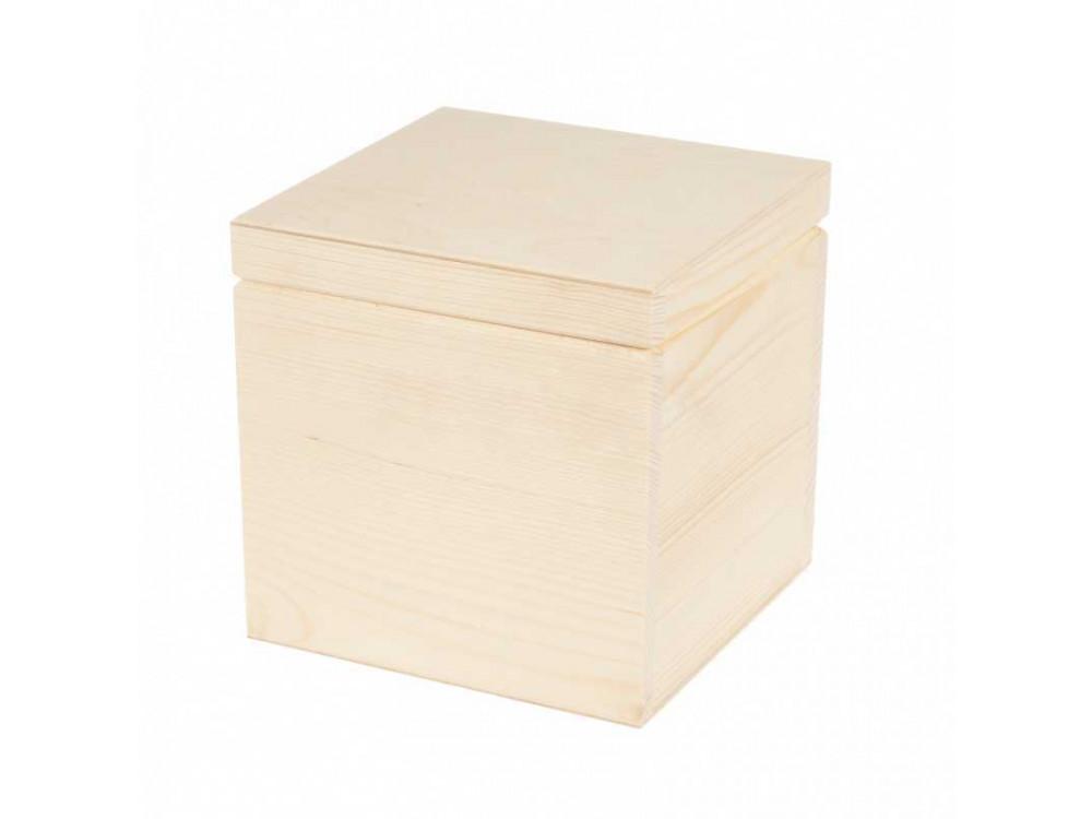 Drewniane pudełko, kasetka - 16 x 16 cm
