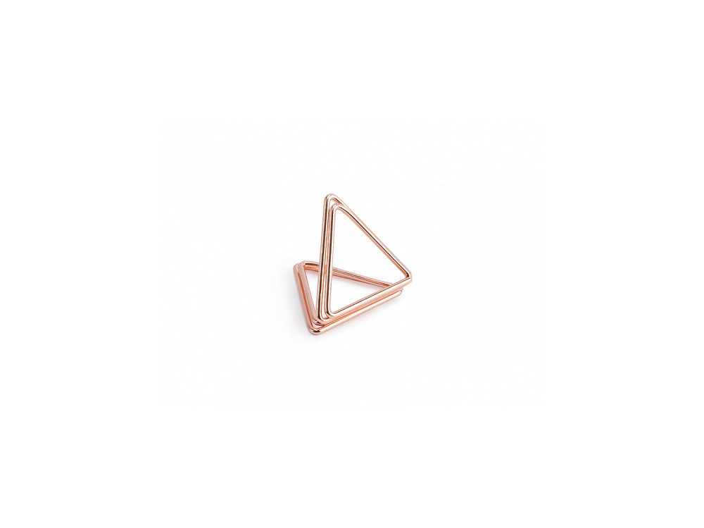 Stojaki na winietki - trójkąty, różowe złoto, 10 szt.