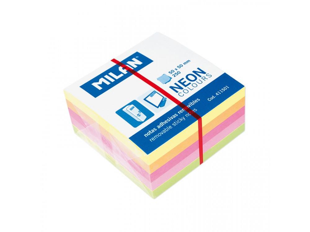 Karteczki neonowe samoprzylepne 50 x 50 mm - Milan - kolorowe, 250 szt.