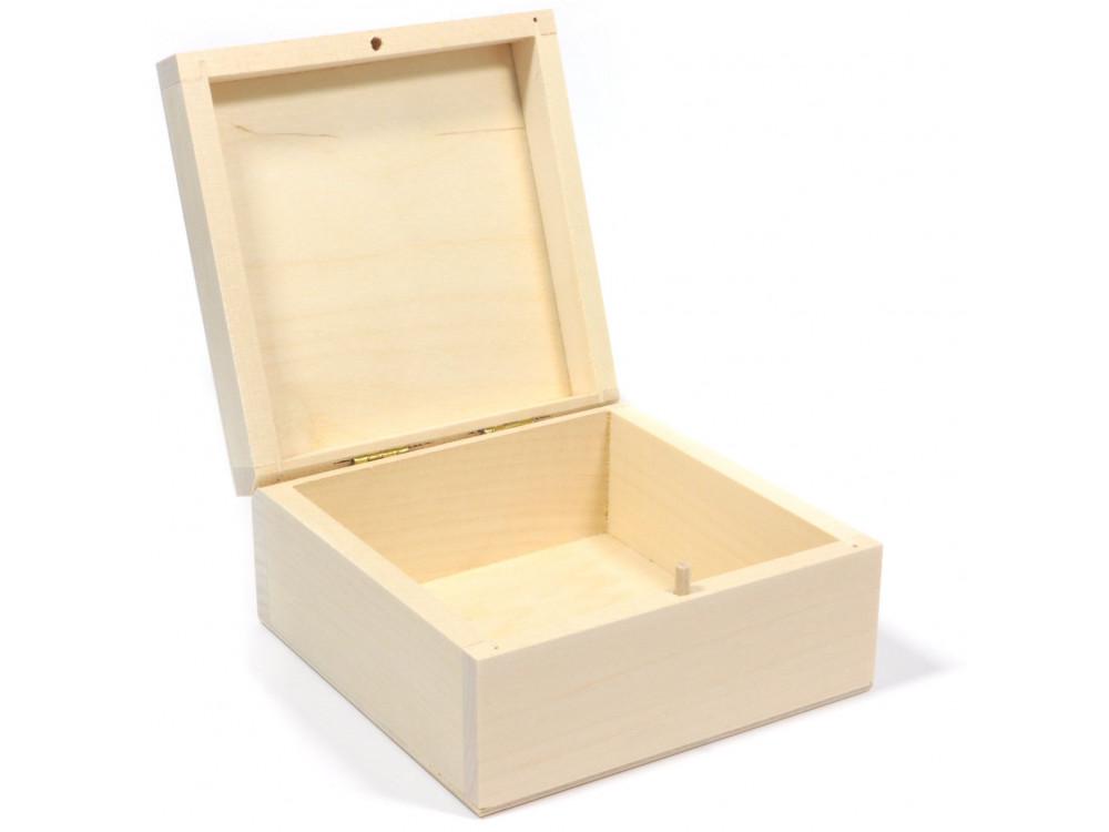 Drewniane pudełko, kasetka - 10 x 10 x 5 cm
