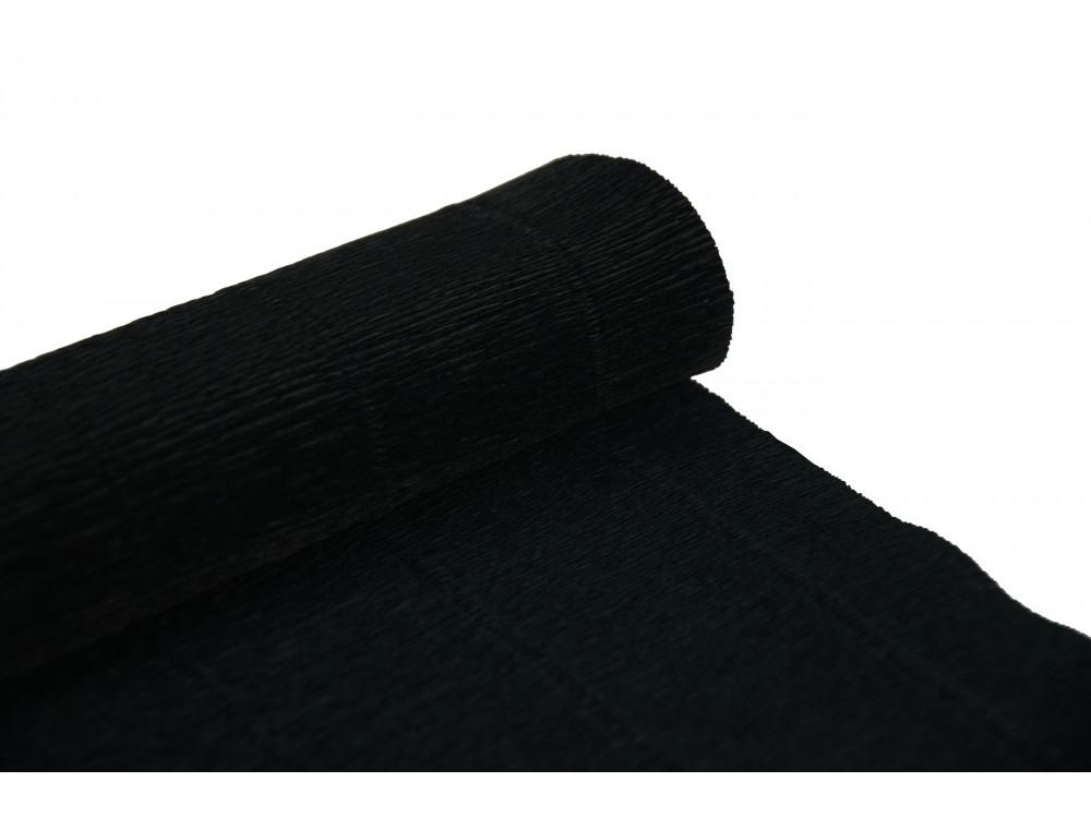 Krepina, bibuła włoska 180 g - Black, 50 x 250 cm