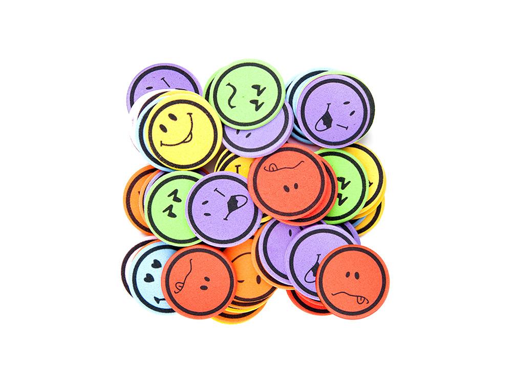 Naklejki z pianki - DpCraft - buźki, emocje, 60 szt.