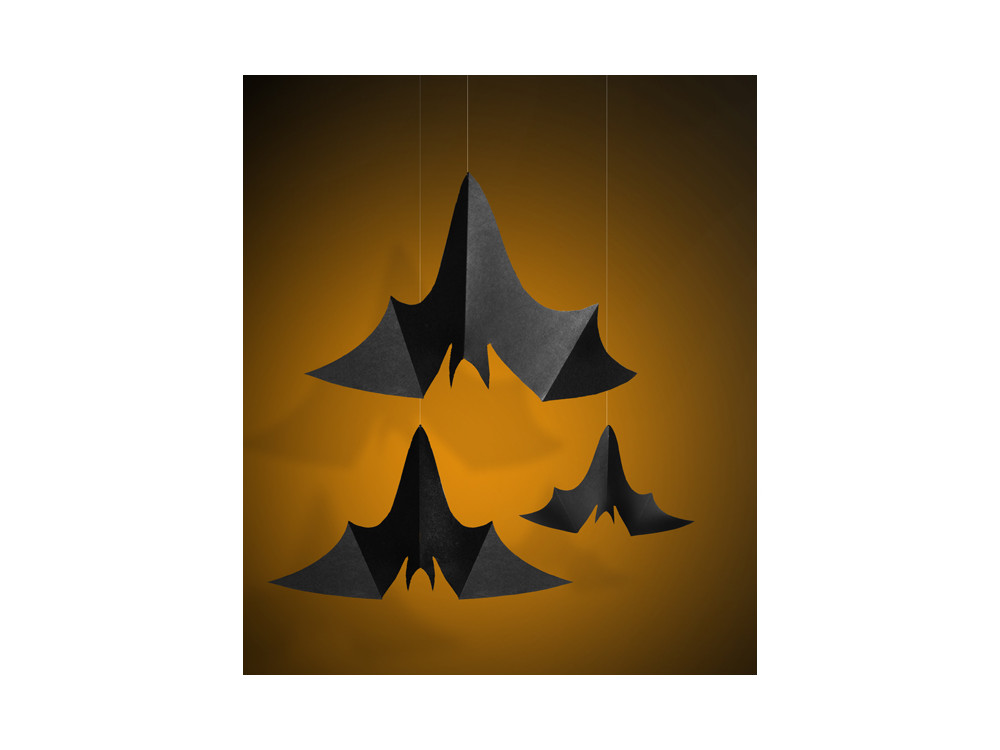 Hanging decoration Bats - black, 3 pcs.