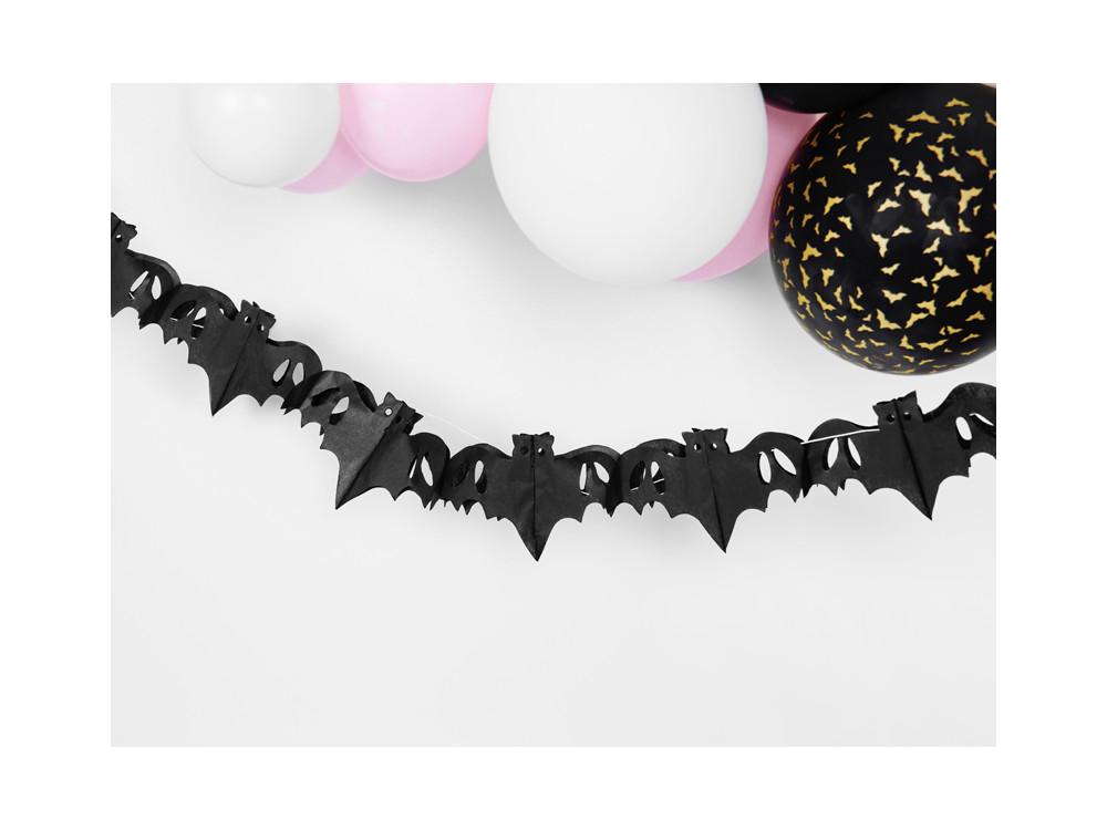 Paper garland Bats - black, 4 m