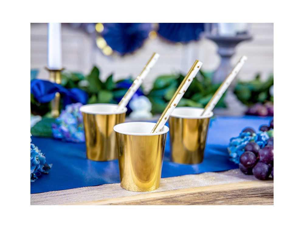 Paper straws - gold, 19,5 cm, 10 pcs.