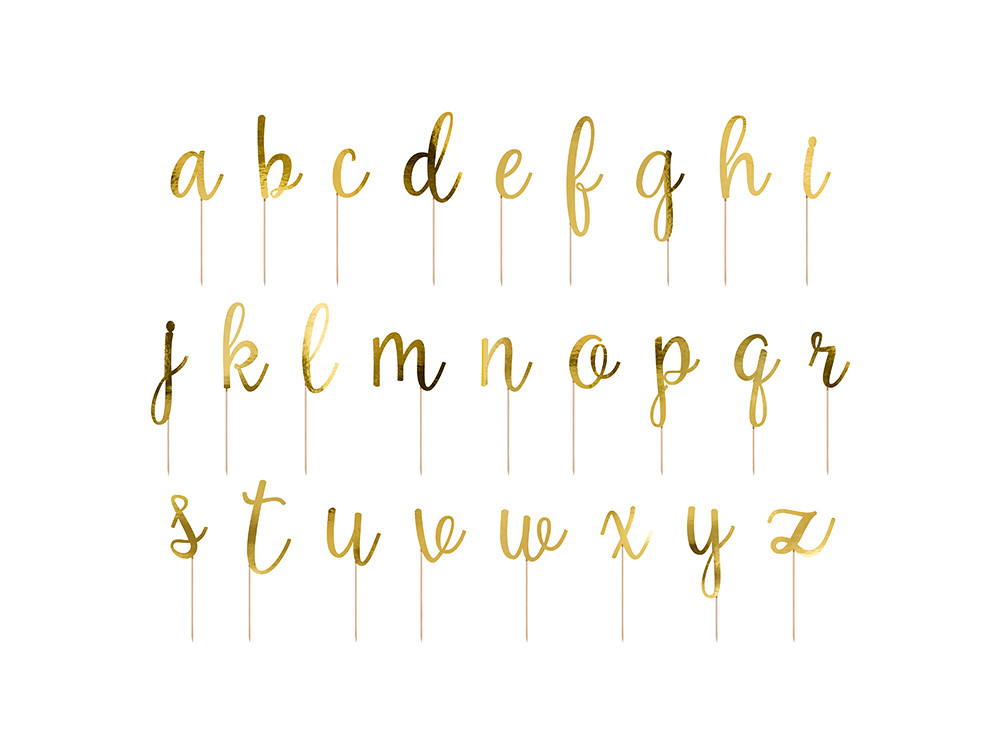 Cake toppers Alphabet - gold, 53 pcs.