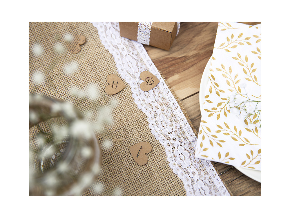 Jute table runner with lace - 28 x 275 cm