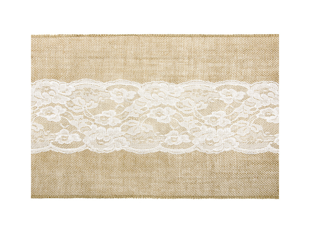 Jute table runner with big lace - 28 x 275 cm