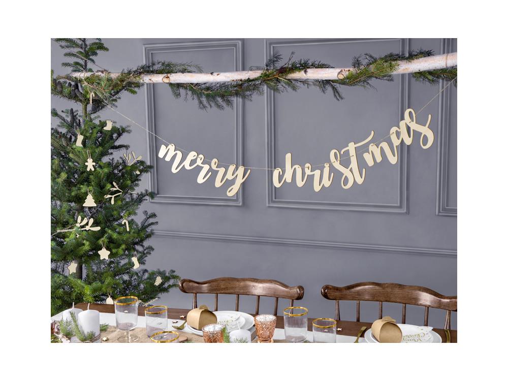 Merry Christmas wooden banner - 17 x 87 cm