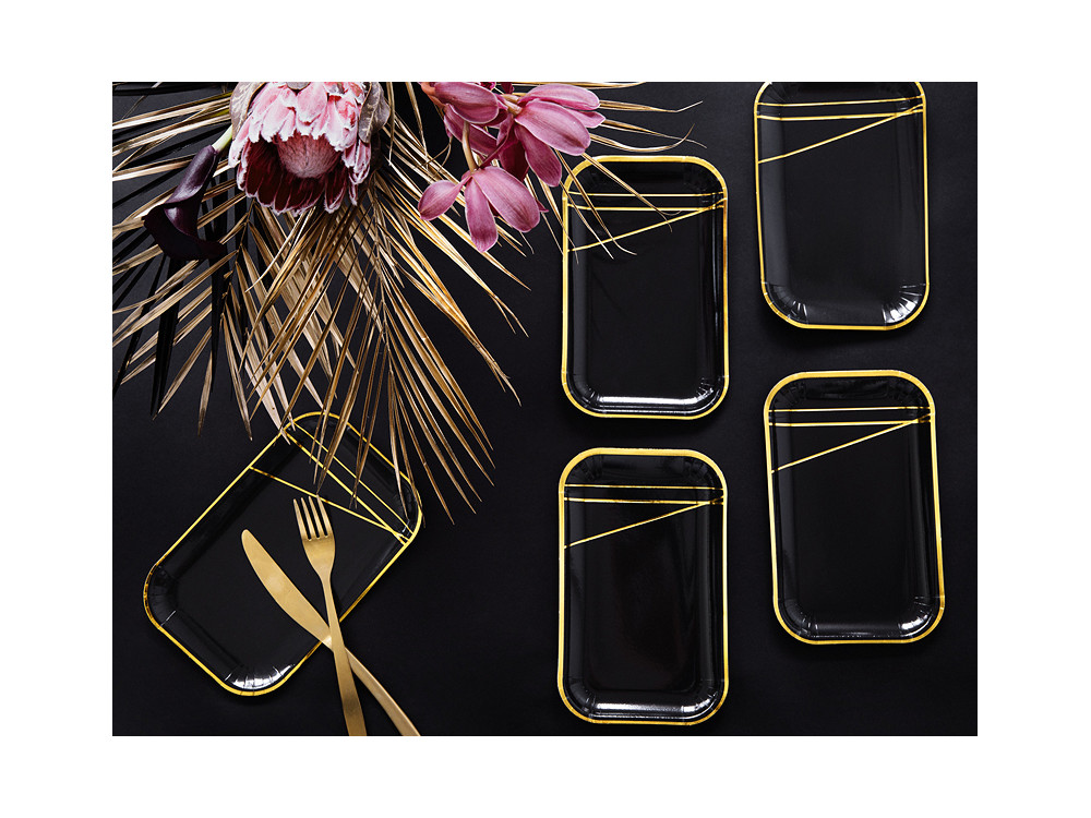 Paper plates - black, rectangle, 6 pcs.