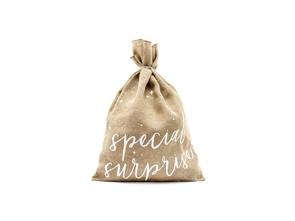 Jute gift sack Specjal surprise - 40 x 55 cm