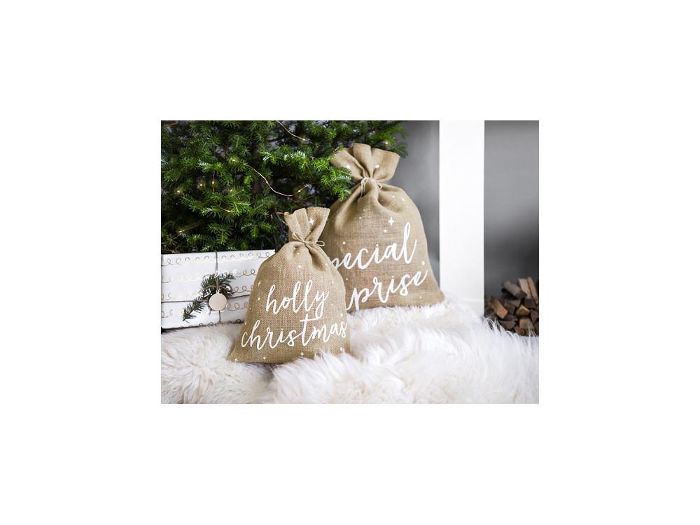 Jute gift sack Holly Christmas - 30 x 42 cm