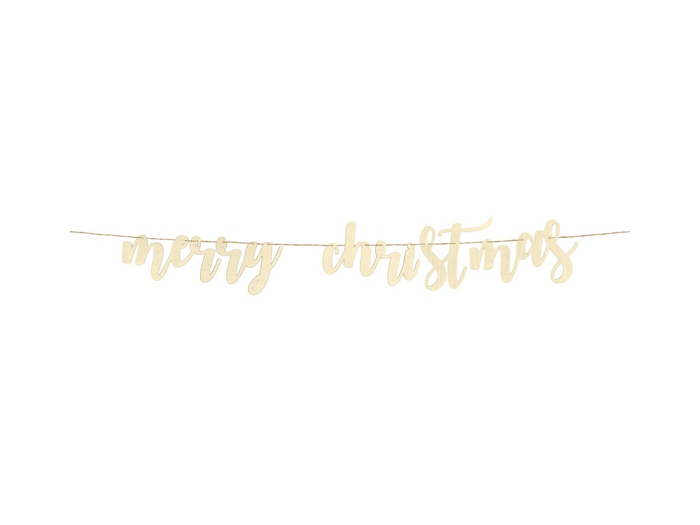 Merry Christmas wooden banner - 17 x 87 cm