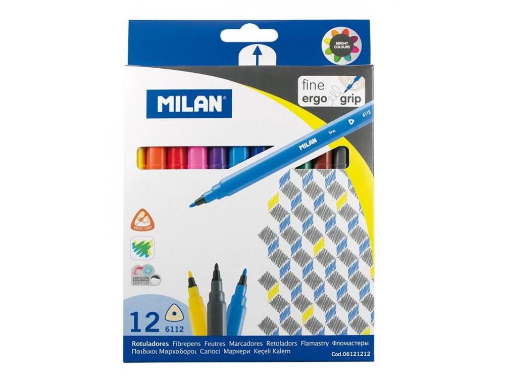 Flamastry trójkątne - Milan - 12 kolorów