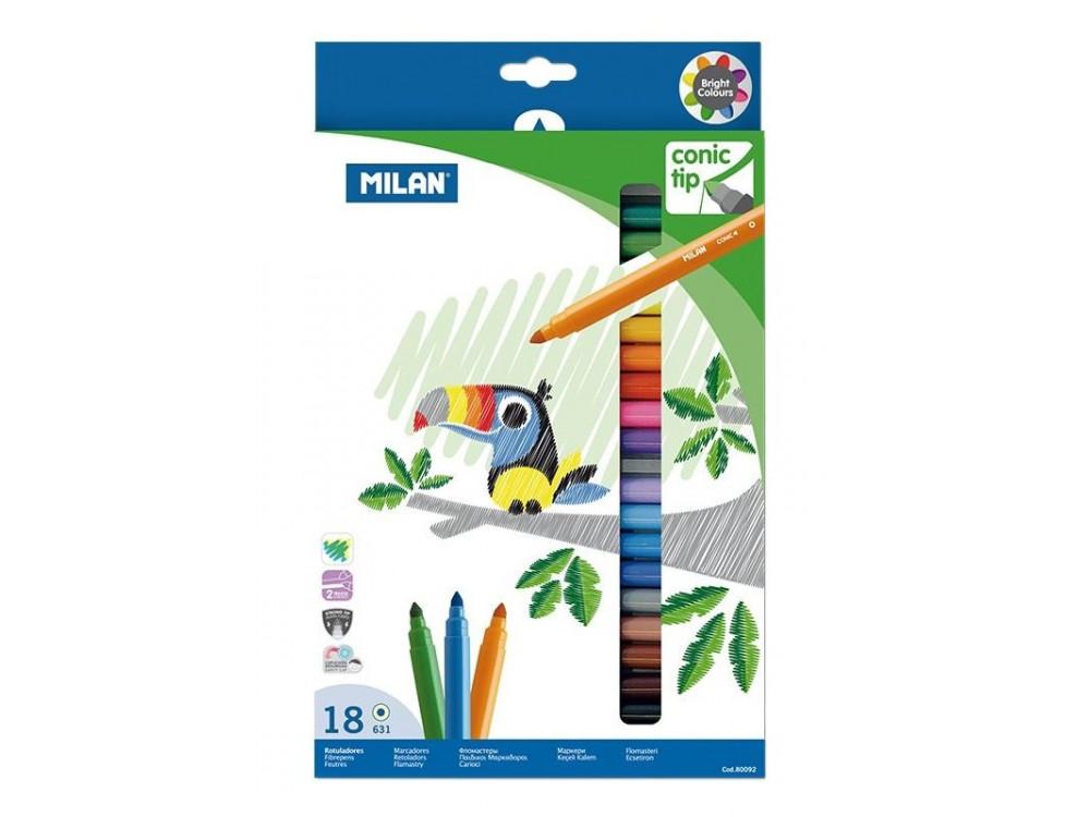 Flamastry ze stożkową końcówką - Milan - 18 kolorów