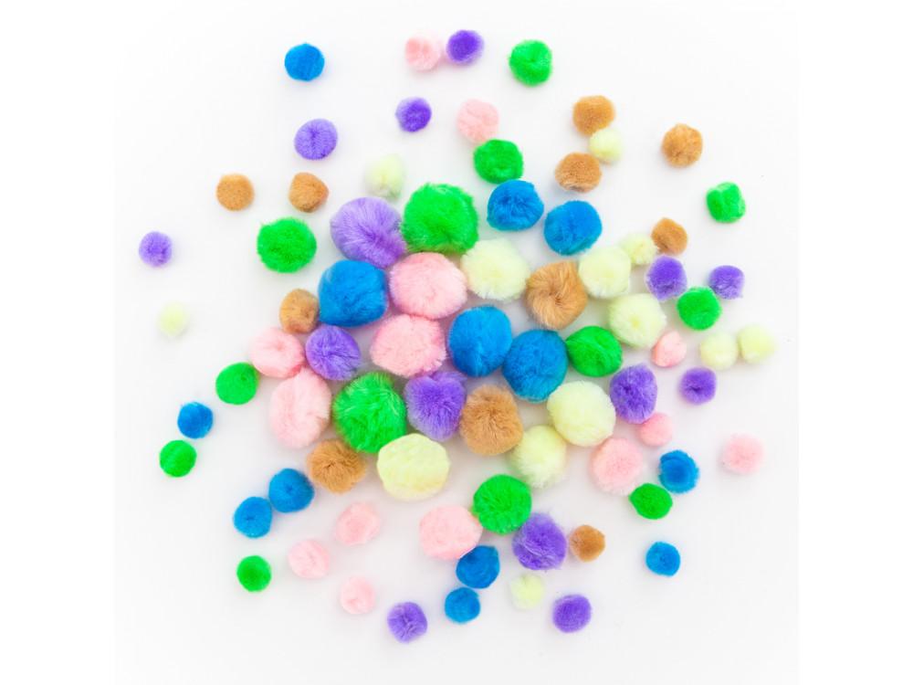 Pompony akrylowe - DpCraft - kolorowe pastelowe, 78 szt.