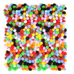 Pompony poliestrowe - DpCraft - kolorowe, 7 mm, 380 szt.