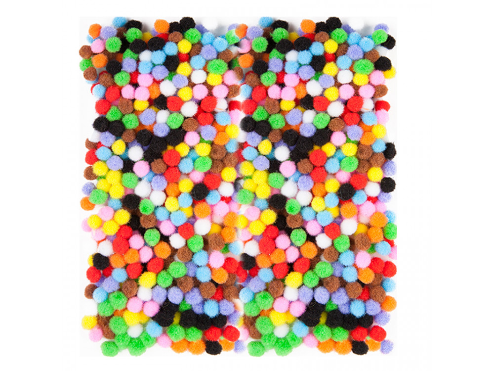 Assorted Poliester Pompoms - DpCraft - colorful, 7 mm, 380 pcs.