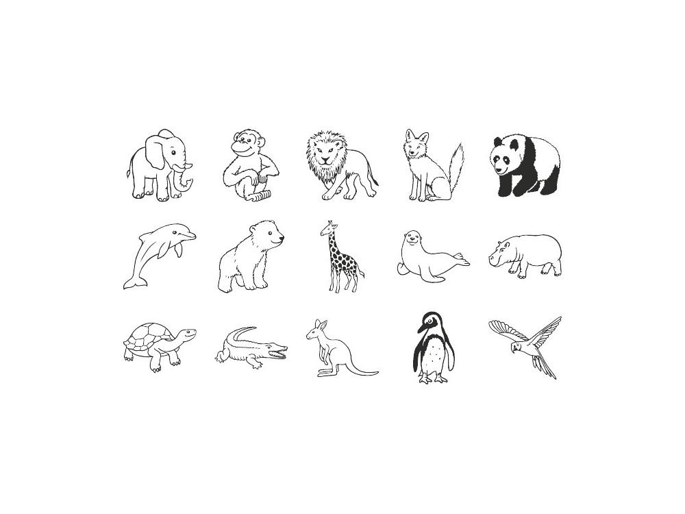 Stamp set - Heyda - zoo, 15 pcs.