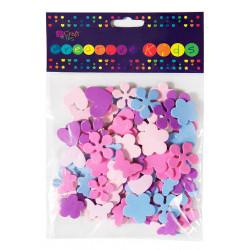 Naklejki z pianki - DpCraft - Serca, kwiaty, motyle, 100 szt.