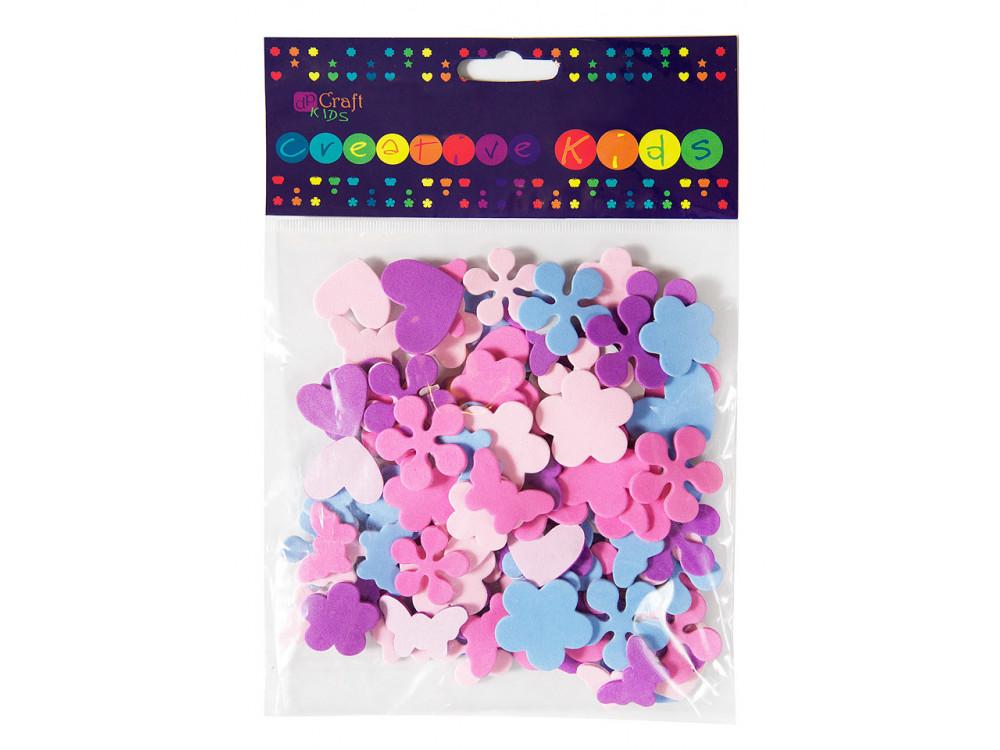 Foam stickers - DpCraft - hearts, flowers, butterflies, 100 pcs.