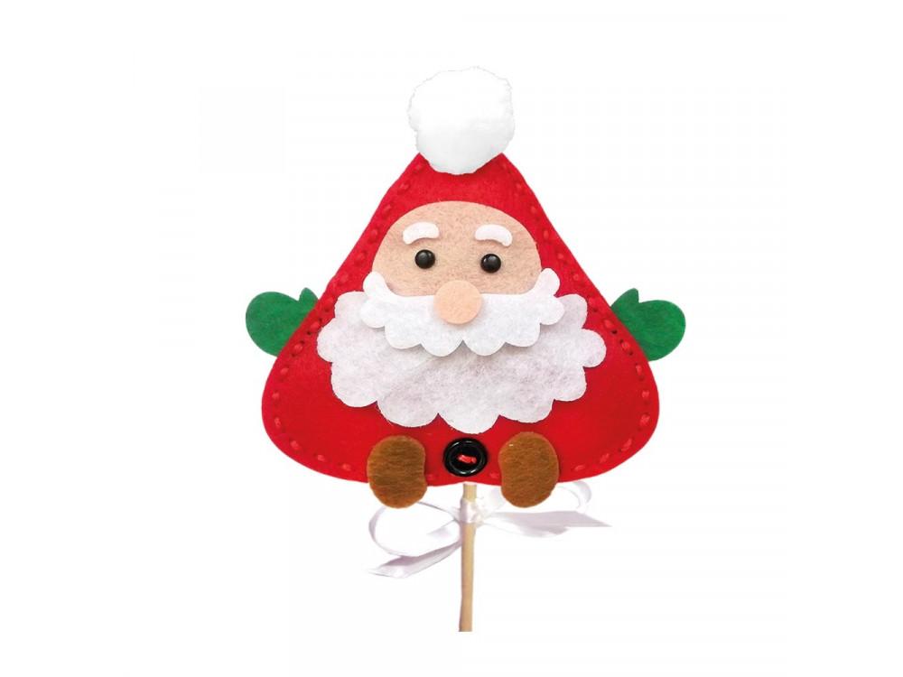 Zestaw kreatywny z filcu - DpCraft - Mikołaj na patyku