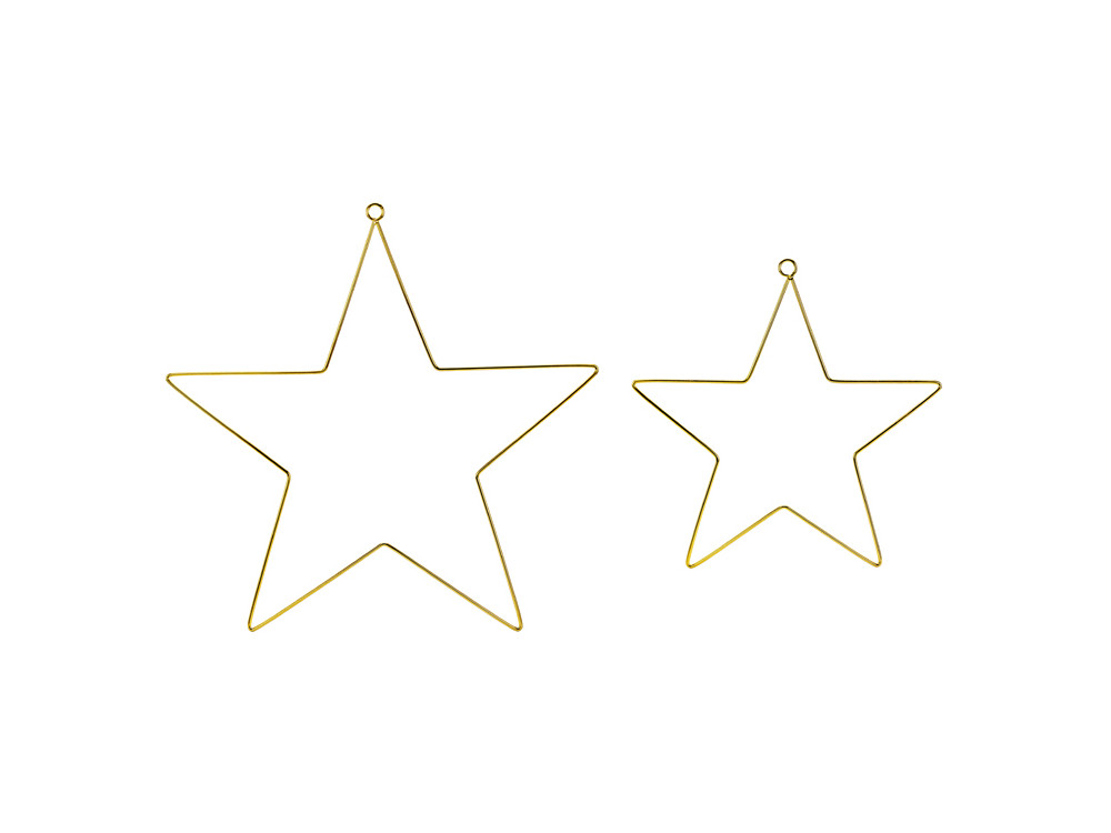 Metal hanging decorations Stars - gold, 2 pcs.
