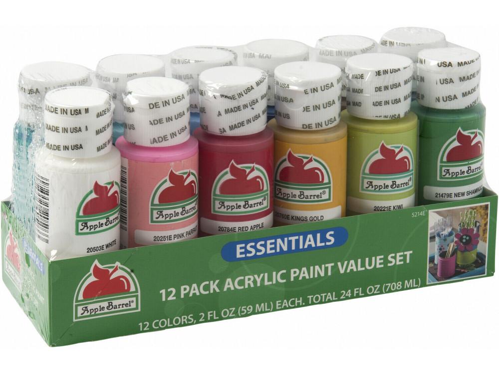 Essential Colors Acrylic Paint Set Apple Barrel 12 Pcs