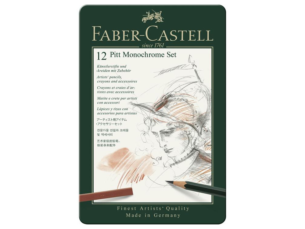 Pitt Monochrome set in metal tin - Faber-Castell - 12 pcs.
