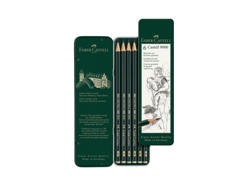 Castell 9000 graphite pencils in metal tin - Faber-Castell - 6 pcs.