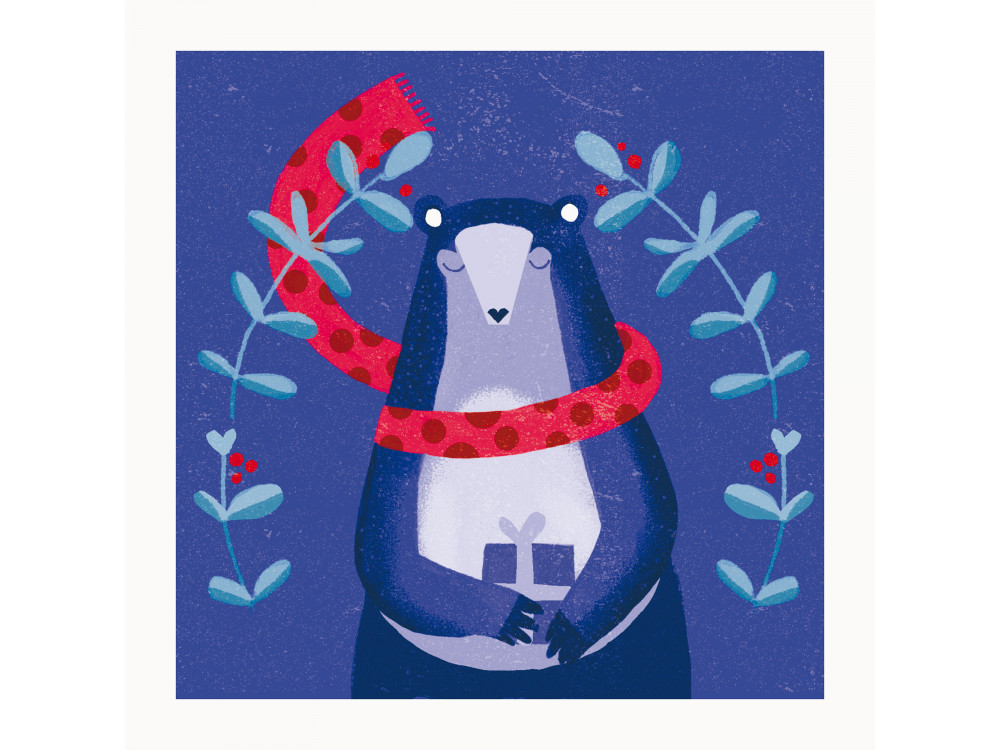 Greeting card - Pieskot - Beary Christmas, 14,5 x 14,5 cm