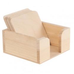 Pojemnik drewniany z podkładkami - 11,2 x 11,2 x 5,5 cm