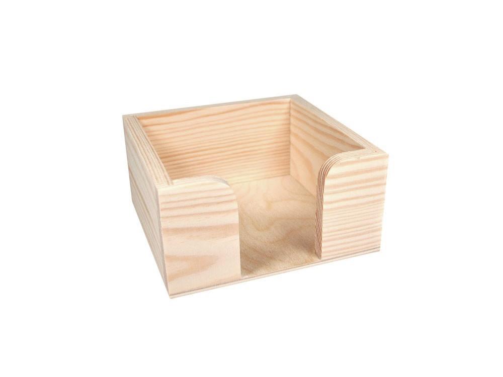 Pojemnik drewniany na karteczki - 11,2 x 11,2 x 5,5 cm
