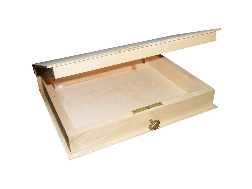 Drewniana oprawa na książkę z kluczykiem