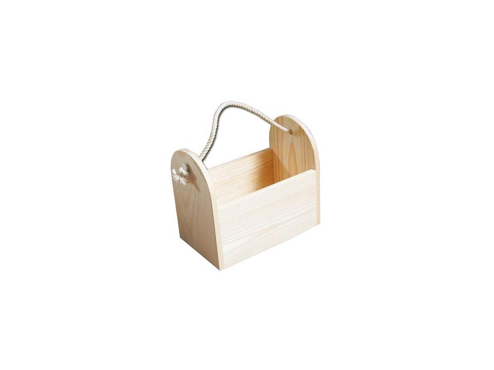 Koszyczek drewniany ze sznurkiem - 12 x 17,5 x 19,5 cm