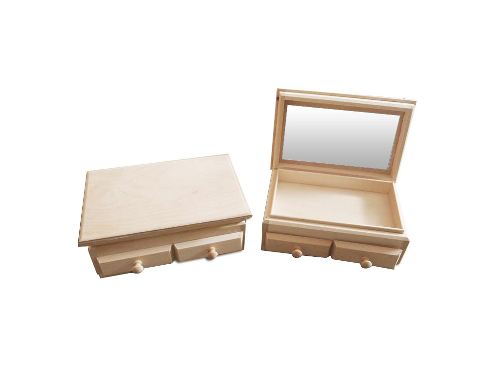 Plain Wooden Chest with 2 Drawers and Mirror