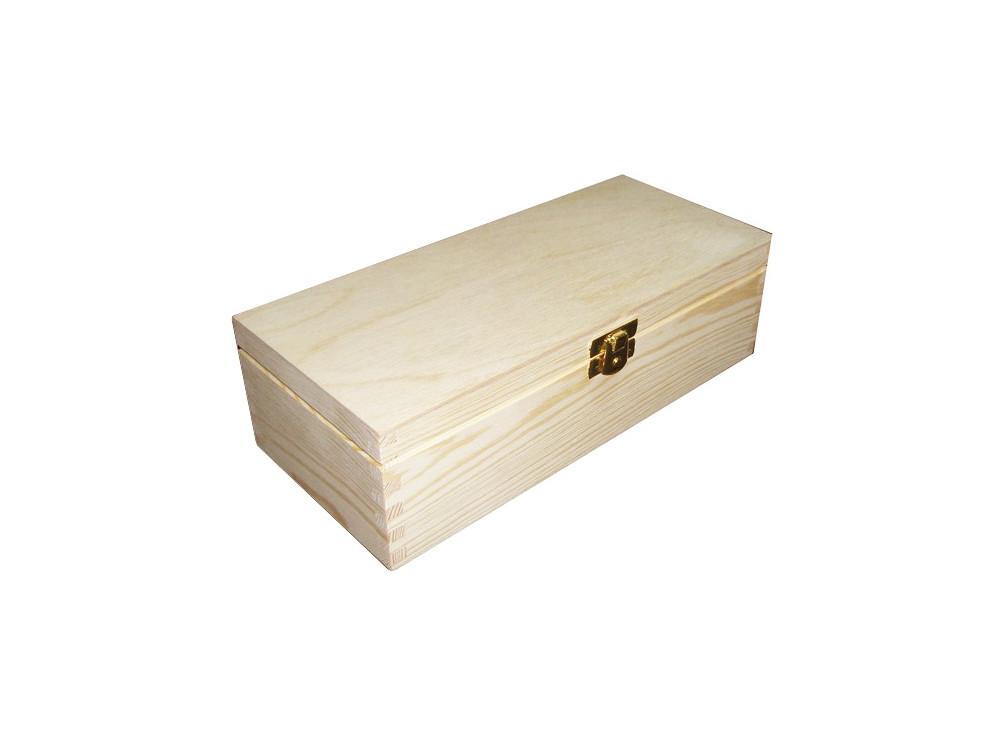 Kasetka drewniana, podłużna z klamrą - 24 x 10,5 x 7 cm