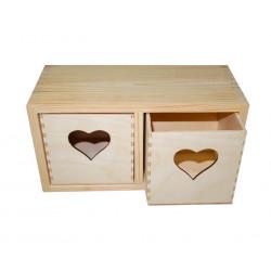 Pojemnik drewniany, regalik z sercem - 23,5 x 10,5 x 12,5 cm