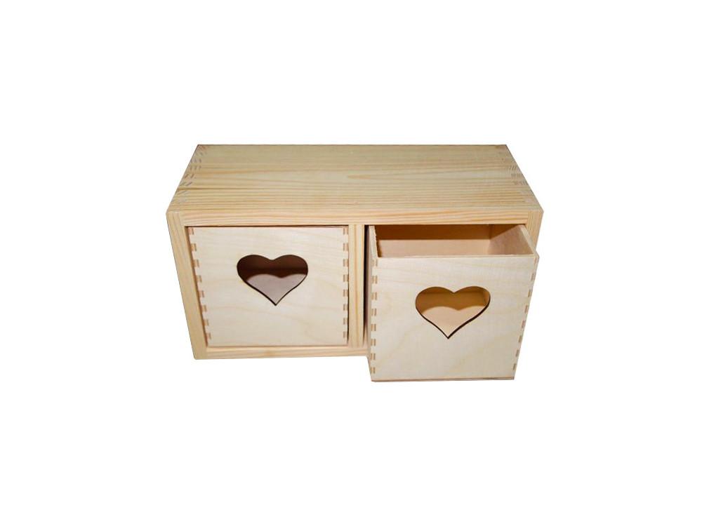 Pojemnik drewniany, regalik z sercem