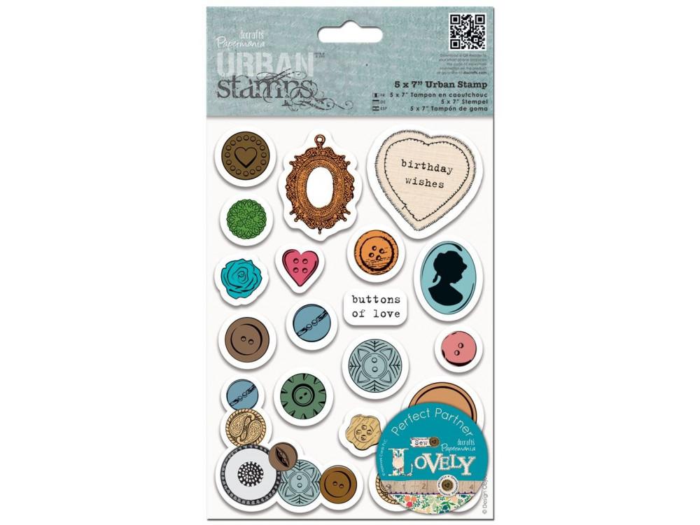 Stemple gumowe Urban - Papermania - Buttons, 19 szt.