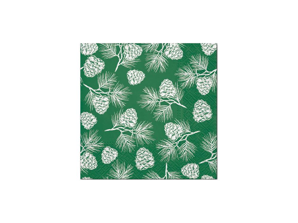 Decorative napkins - Paw - Cones, green, 20 pcs.