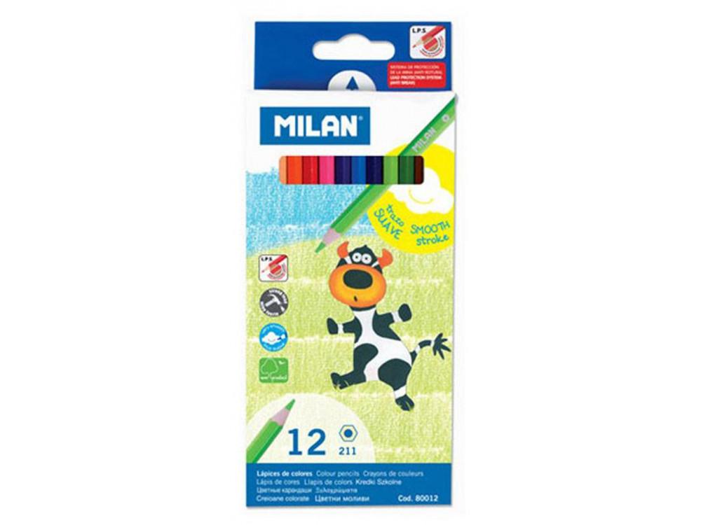 Kredki ołówkowe sześciokątne - Milan - 12 kolorów