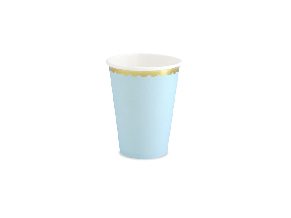 Paper cups - blue and gold, 220 ml, 6 pcs.