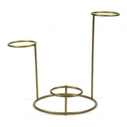 Stojak metalowy na ozdoby - złoty, potrójny, 15 cm x 45 mm