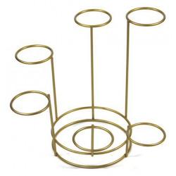 Stojak metalowy, na ozdoby - złoty, sześcioramienny, 17,3 cm x 45 mm