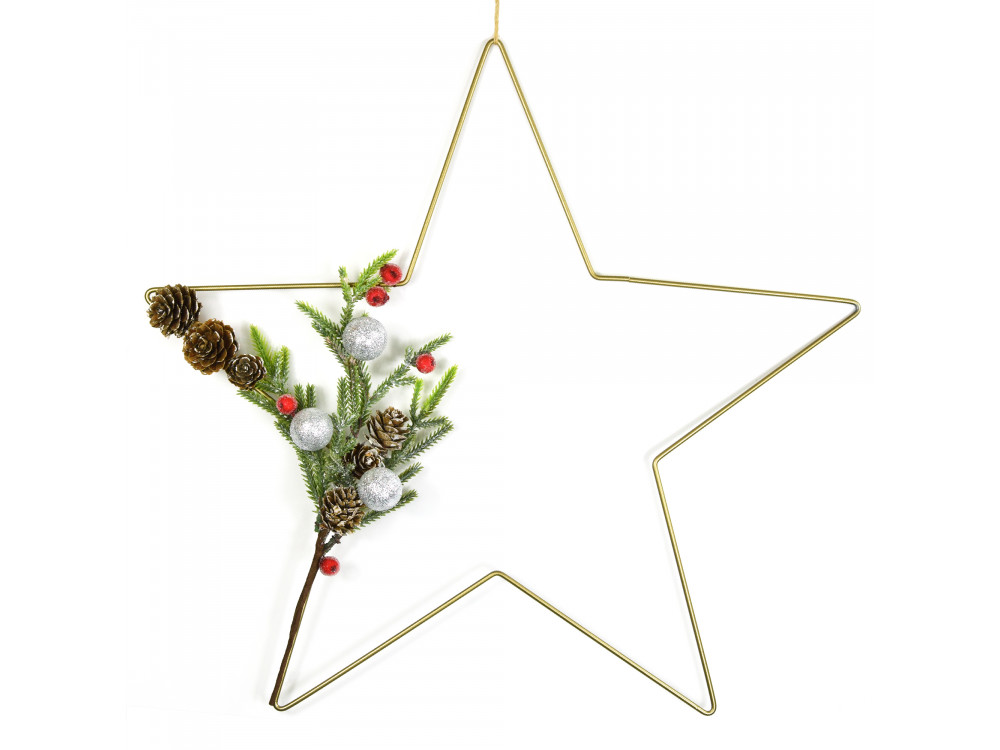 Metal star hoop, base for garlands, wreaths and dream catchers - gold, 40 cm