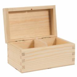 Pojemnik drewniany na herbatę, herbaciarka - 2 przegrody